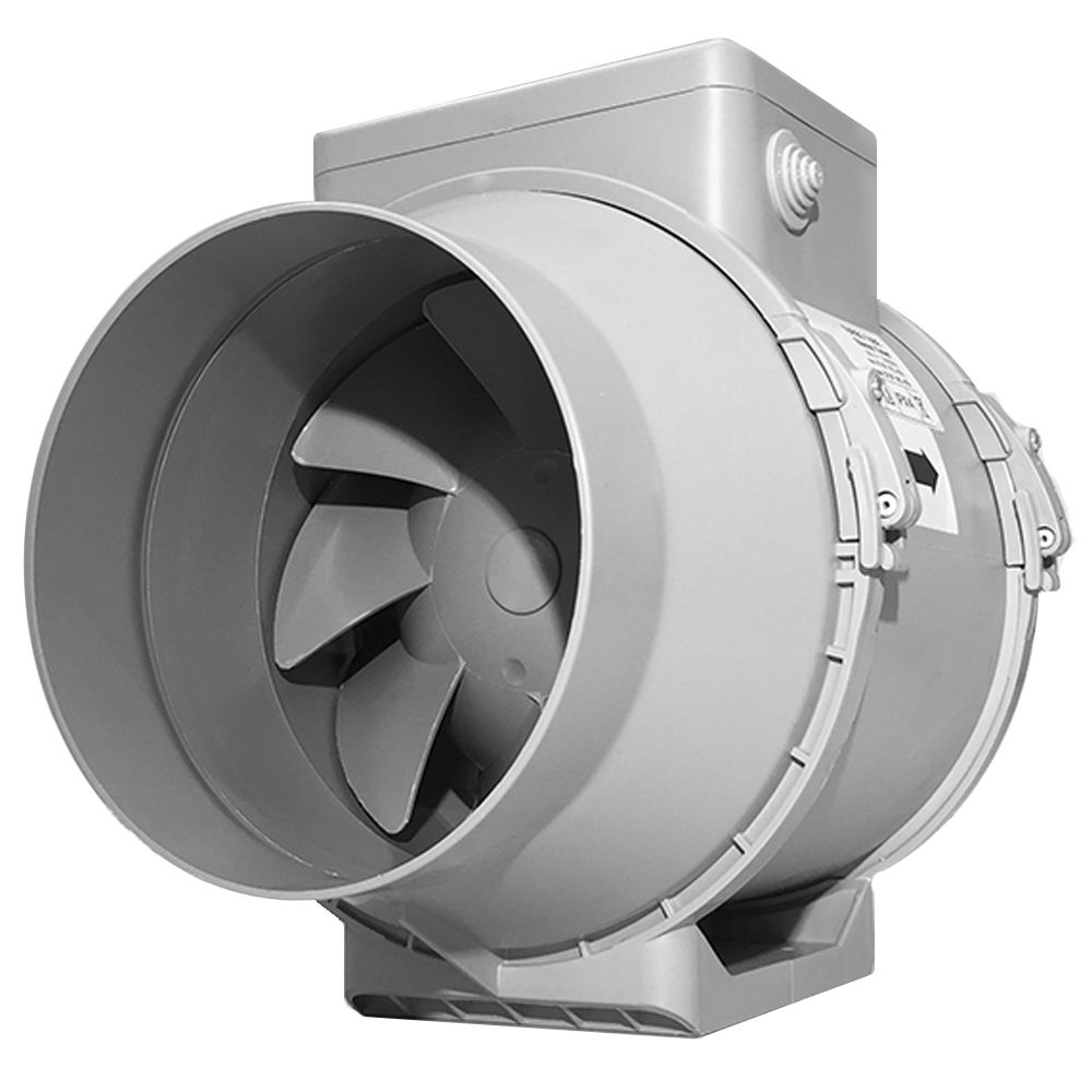 Turbo tube six inch 565m3 hr inline bathroom fan with timer for In line centrifugal bathroom fan