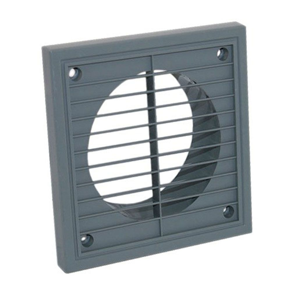Fixed Four Inch 100mm External Extractor Fan Grille Grey